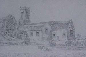 Drawing of Church made about 1800 AD & given by the Rector of Thelnetham in 1915